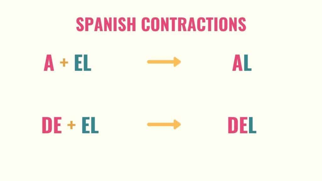 graphic showing article contractions when using a and de